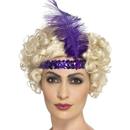 Purple Sequin Flapper Headband
