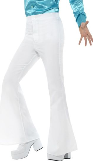 Men's White Flared Trousers