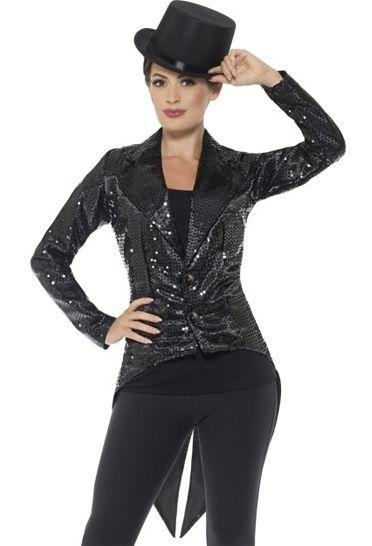 Ladies Black Sequin Tailcoat Jacket