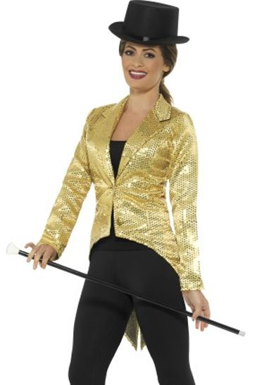 Ladies Gold Sequin Tailcoat Jacket