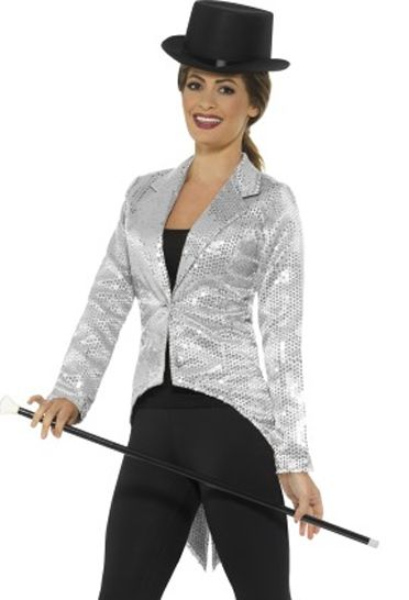 Ladies Silver Sequin Tailcoat Jacket