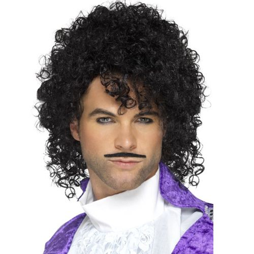 80's Purple Musician Wig And Tash