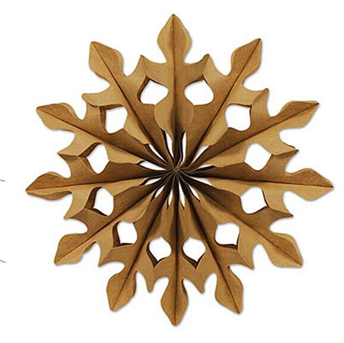 "Kraft Brown Paper Snowflake Fans 12"" - Pack 2"