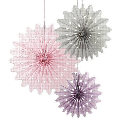 Pastel Pink And Lilac Paper Fans - Pack of 3