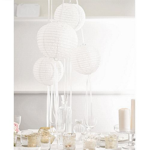 White Lanterns With Ribbons - Pack of 3