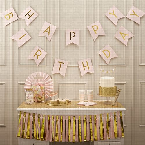 Pink And Gold Happy Birthday Bunting - 2.5m
