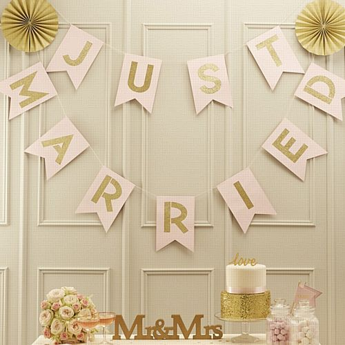 Pink & Gold Just Married Bunting - Pastel Perfection - 3.5m