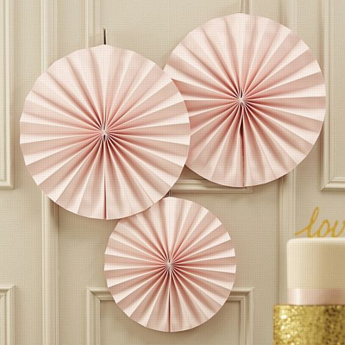 Pinwheel Fan Decorations - Pastel Pink - Pack of 3