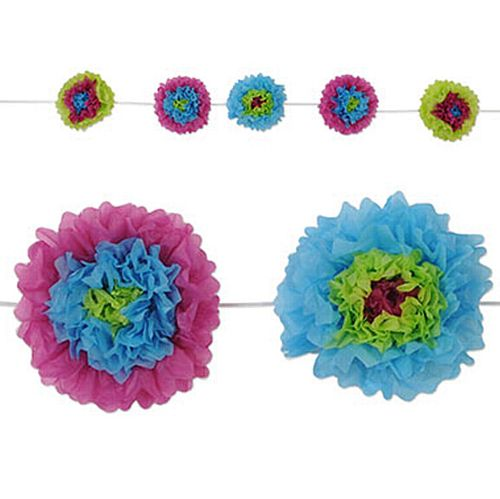 Multi Colour Tissue Flower Garland - 2.4m