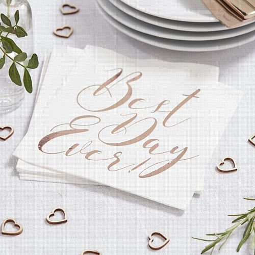 White And Rose Gold Napkins - Best Day Ever - Pack of 20