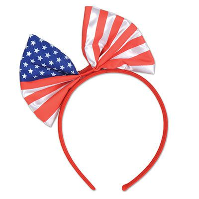 American Flag Patriotic Bow Headband