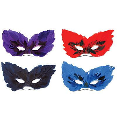 Feather Masks - Pack of 4