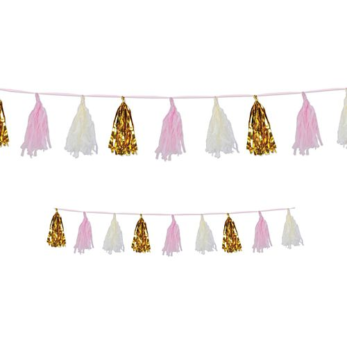 Gold, Pink and White Metallic and Tissue Tassel Garland - 2.4m