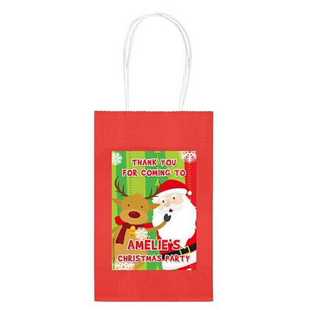 Personalised Santa Claus Paper Party Bags - Pack of 4