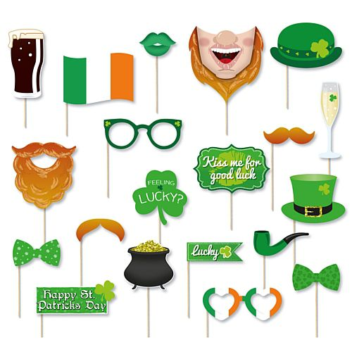 Irish St. Patricks Photo Booth Props - Pack of 20