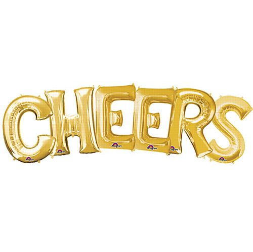 CHEERS Gold Foil Letter Balloon Pack - 40cm