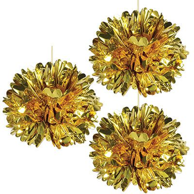 Gold Metallic Pom Pom Decorations - 41cm - Pack of 3