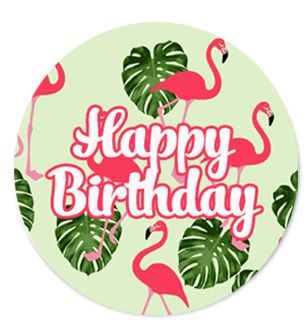 Happy Birthday Flamingo Badge 58mm - Pinned Back - Each
