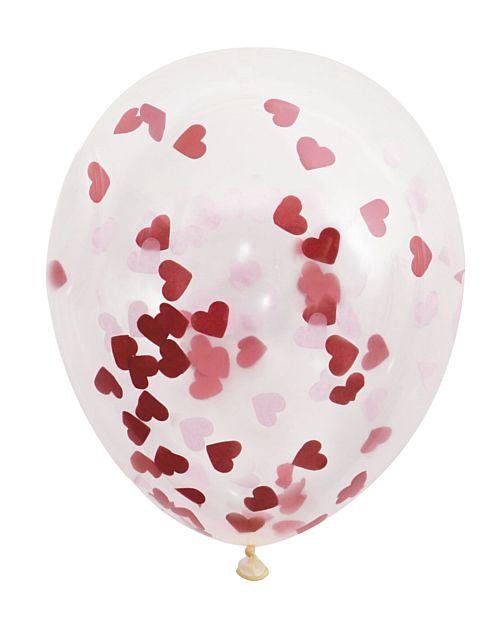 "Red Heart Shaped Confetti Filled Balloons - 16"" - Pack of 5"