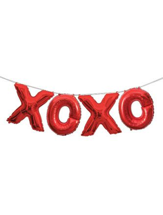 "Red Foil ""XOXO"" Letter Balloon Bunting Kit - 14"""
