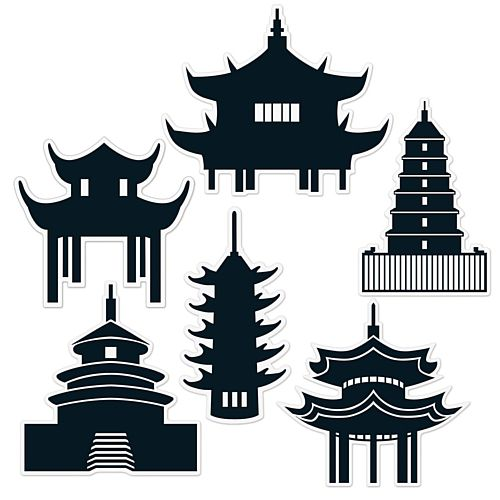 Chinese Pagoda Silhouettes Wall Decorations - 36.8cm - Pack of 6