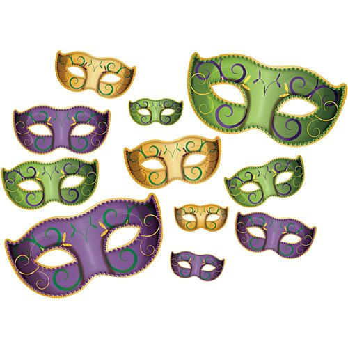 Mardi Gras Mask Cutouts - 15.9cm to 46.4cm - Pack of 11
