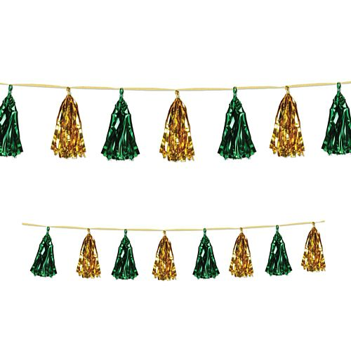 Gold and Green Metallic Tassel Garland - 2.4m
