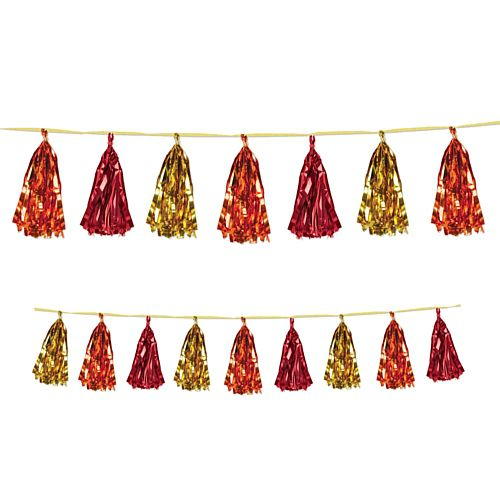 Gold, Red and Orange Metallic Tassel Garland - 2.4m
