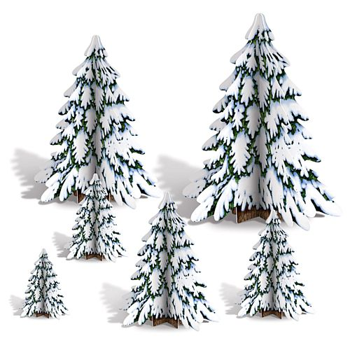 3D Winter Pine Tree Centerpieces 10.2cm to 31.75cm - Pack of 6