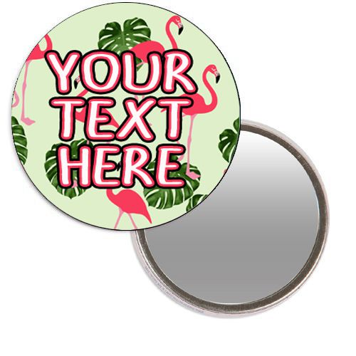 Personalised Pocket Mirror - Flamingo Design