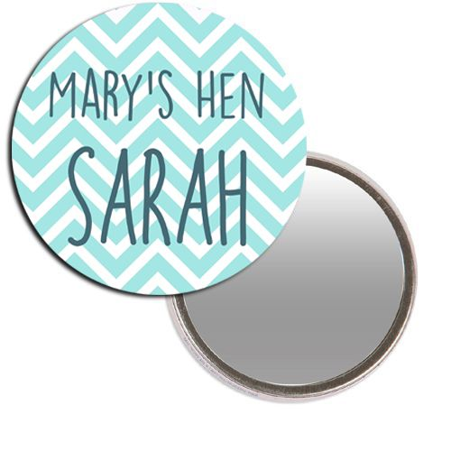 Personalised Pocket Mirror - Chevron Hen Design
