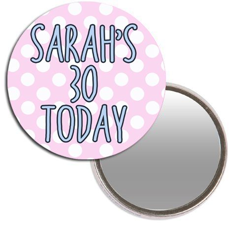 Personalised Pocket Mirror - Polka Dot Birthday Design