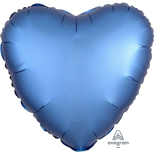 Azure Blue Satin Finish Heart Foil Balloon - 18""