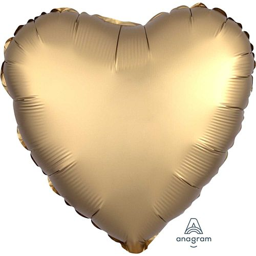 Gold Satin Finish Heart Foil Balloon - 18""