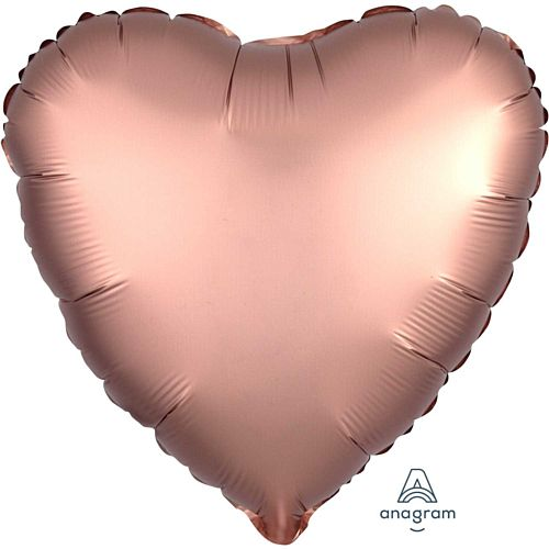 Rose Gold Satin Finish Heart Foil Balloon - 18""