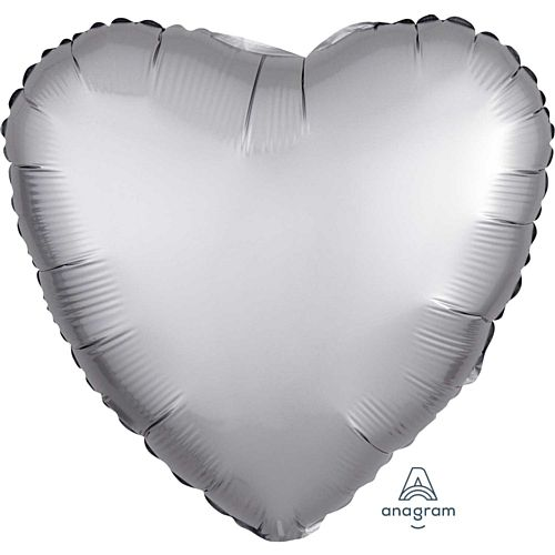 Silver Satin Finish Heart Foil Balloon - 18""