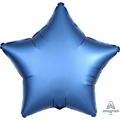 Azure Blue Satin Finish Star Foil Balloon - 18""