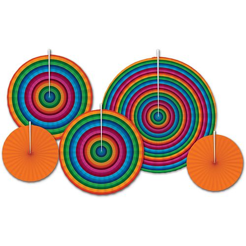 Fiesta Accordion Paper Fans - 40.6cm - Pack of 5