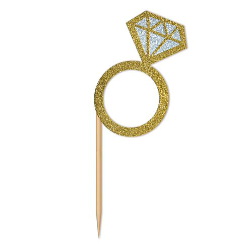 Diamond Ring Cupcake Toppers - 7.6cm - Pack of 24
