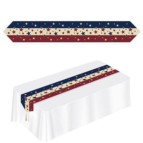 American Stars and Stripes Paper Table Runner - 1.8m