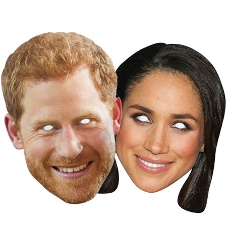 Prince Harry and Meghan Markle Card Masks - Pack of 2