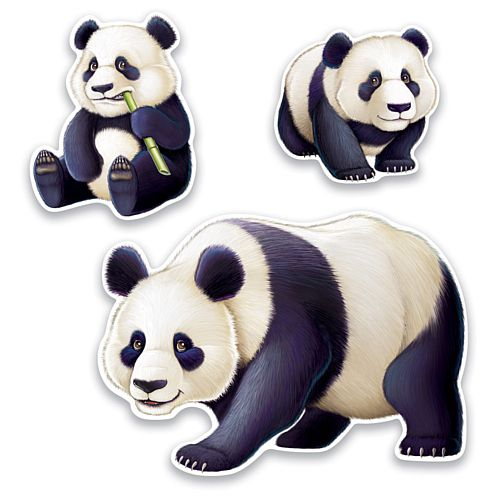 Panda Cutouts - 28.6cm to 64cm - Pack of 3