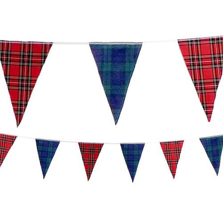 Red and Blue Tartan Fabric Bunting - 8m