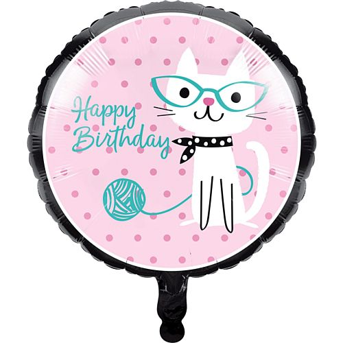 Purrfect Party Cat Happy Birthday Foil Balloon - 18""