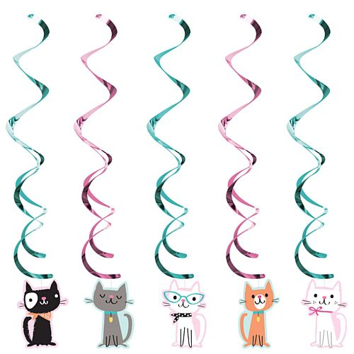 Purrfect Party Cat Danglers - Pack of 5