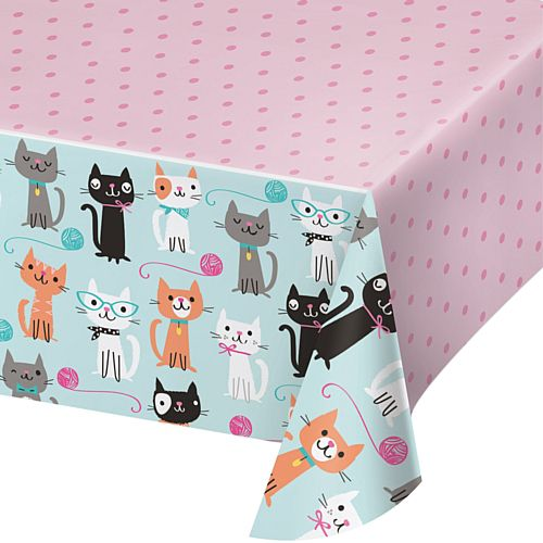 Purrfect Party Cat Plastic Tablecloth - 2.59m