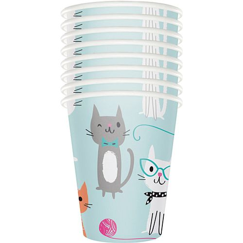 Purrfect Party Cat Paper Cups - Pack of 8