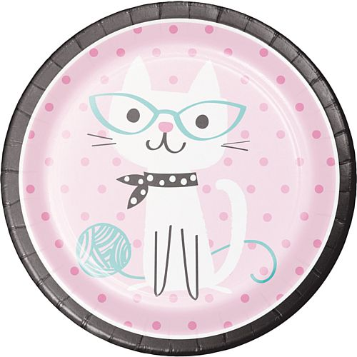 Purrfect Party Cat Dinner Plates - Pack of 8 - 9""