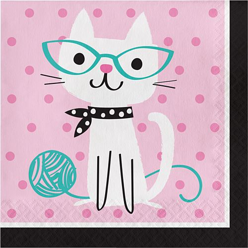 Purrfect Party Cat Luncheon Napkins - Pack of 16