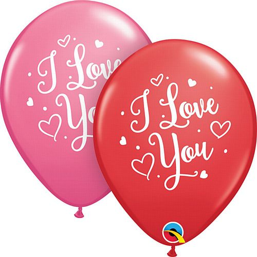 "I Love You Hearts Script Latex Balloon - 11"" - Pack of 10"